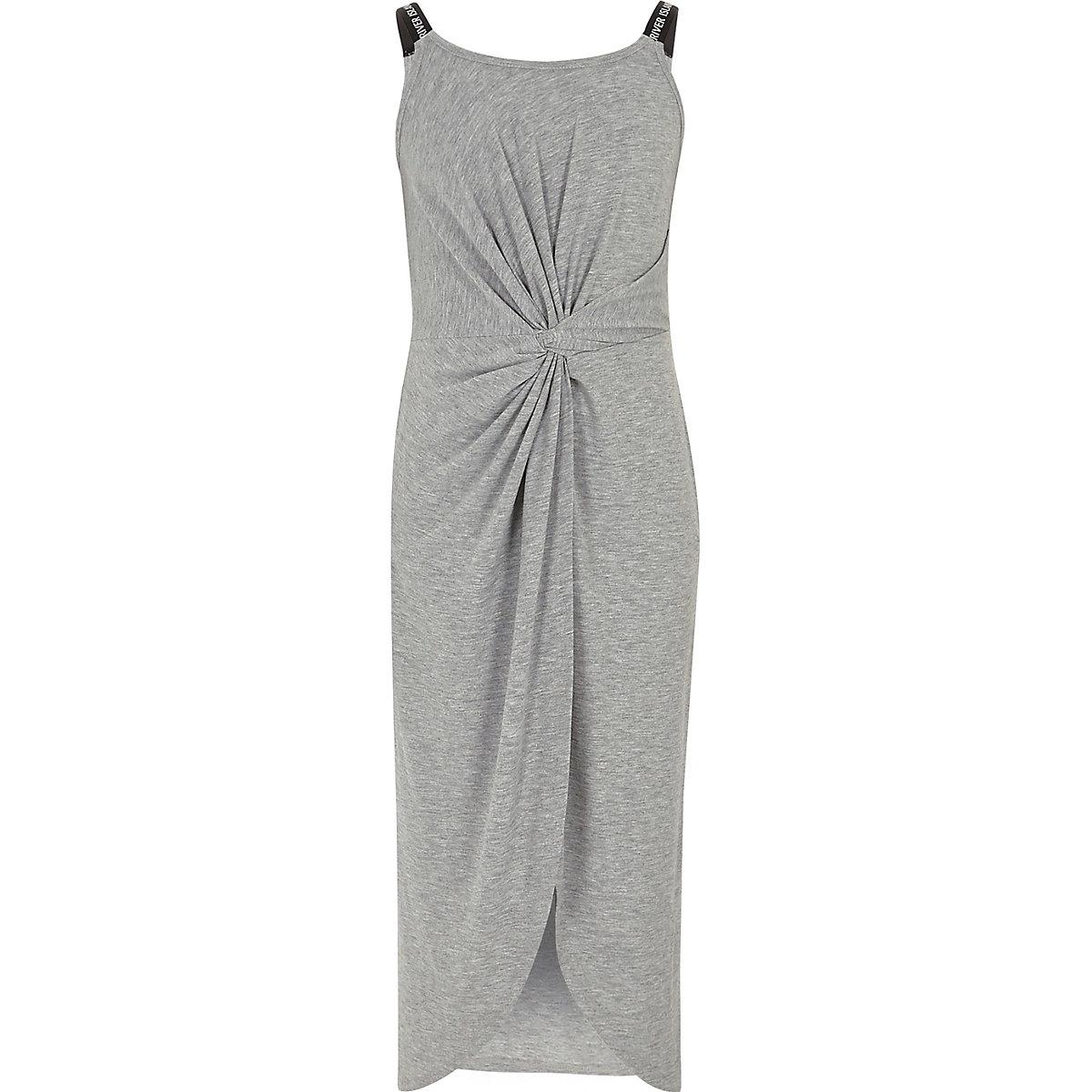 Girls grey marl twist front maxi dress