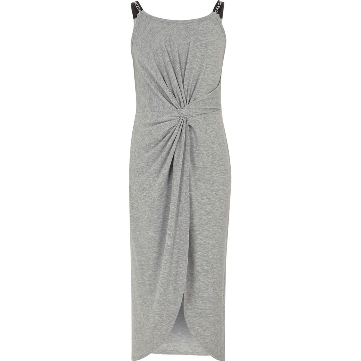 Girls grey marl twist front maxi dress