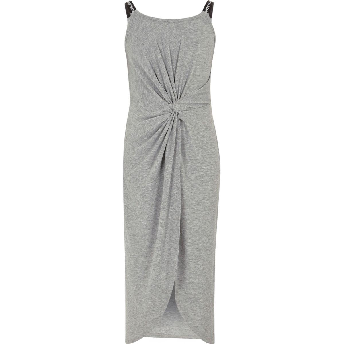Robe longue gris chiné torsadée sur le devant pour fille
