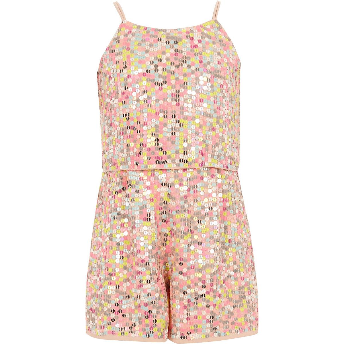 Girls pink sequin embellished playsuit