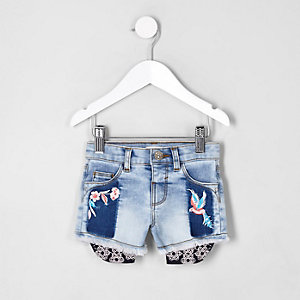 Mini girls embroidered denim shorts