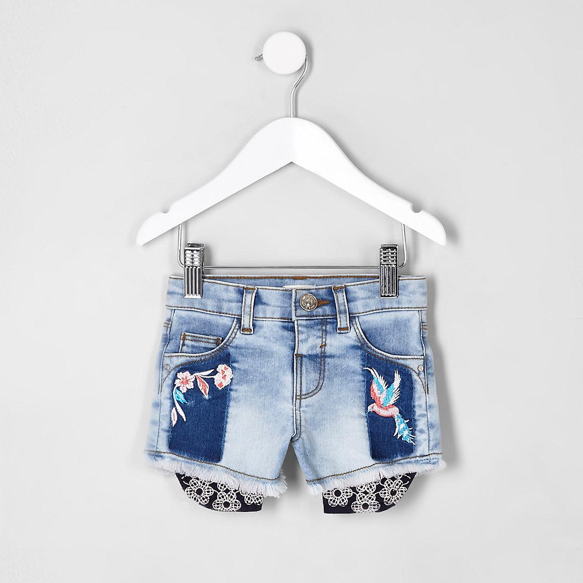 Mini girls embroidered denim shorts