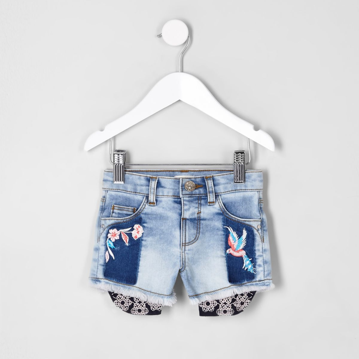 Short en jean brodé mini fille