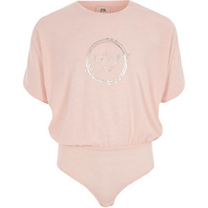 Roze jersey body met 'luxury'-print voor meisjes