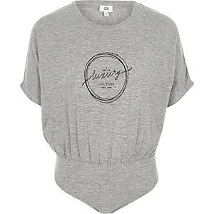 Girls grey jersey 'luxury' print bodysuit
