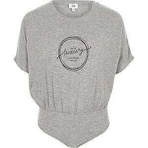 Grijze jersey body met 'luxury'-print voor meisjes