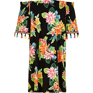 Girls black floral bardot trapeze dress