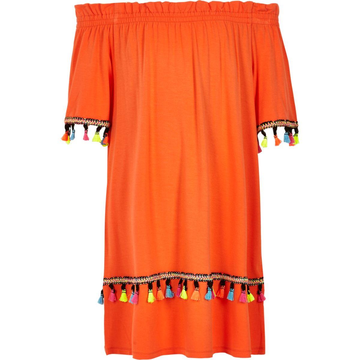 Girls orange tassel trim bardot dress