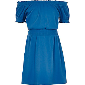 Girls blue shirred bardot dress