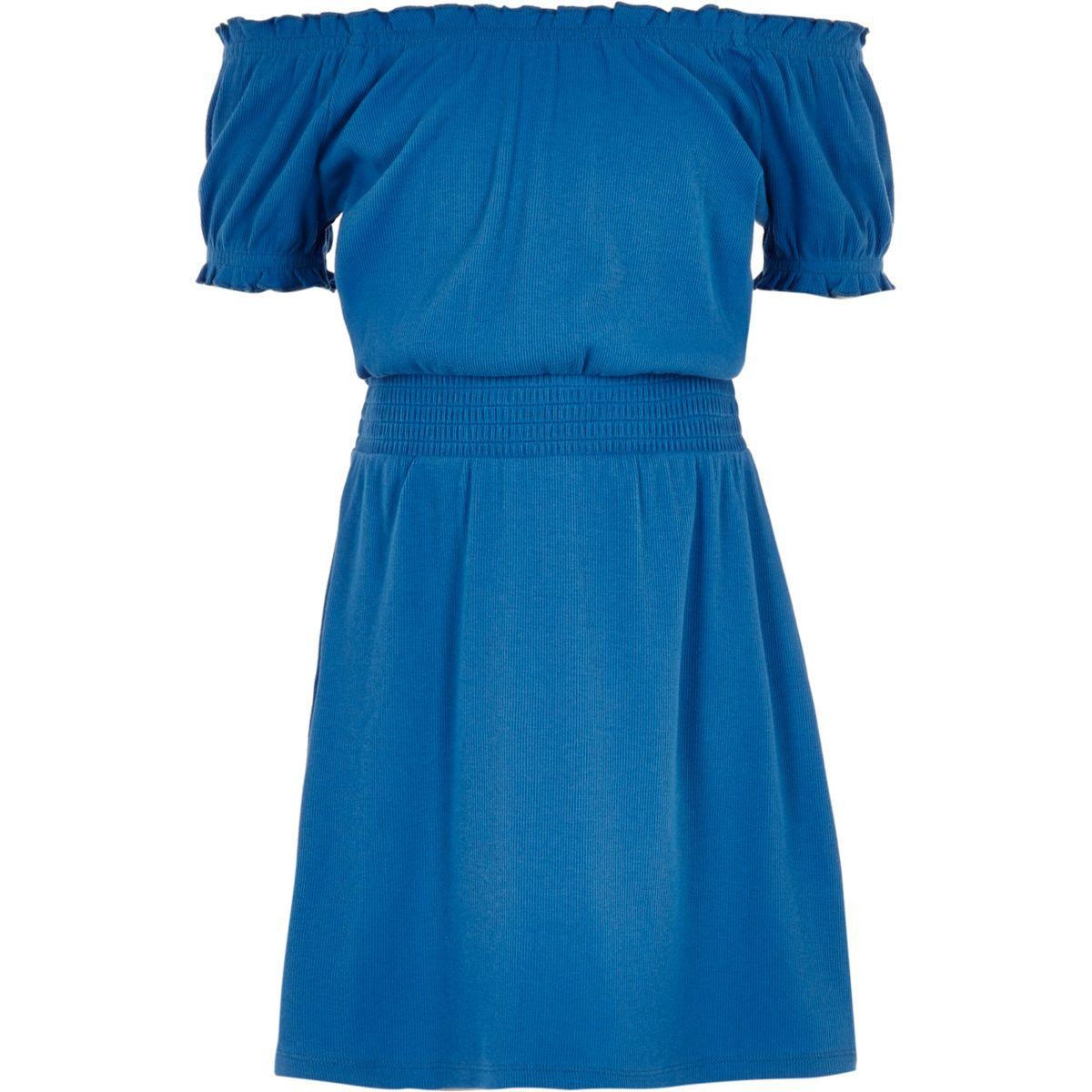 Robe Bardot bleue froncée pour fille