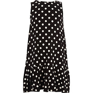 Girls navy polka dot frill hem dress