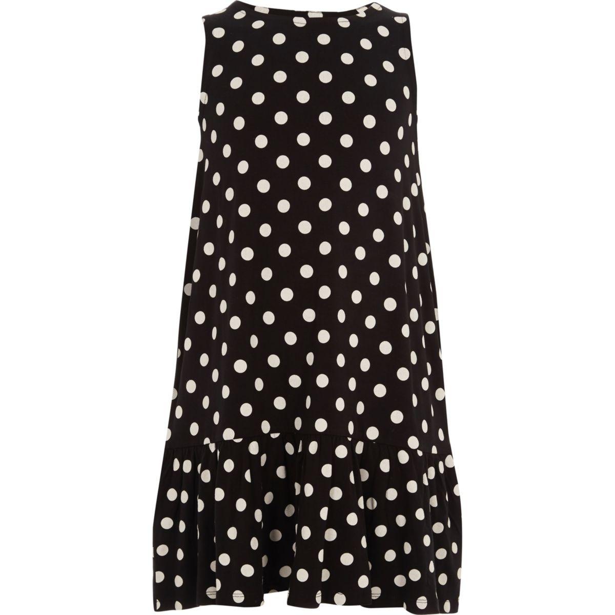 Girls navy polka dot frill hem dress