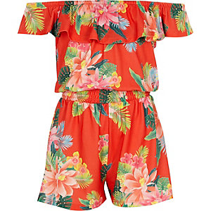 Bardot-Overall mit Blumenmuster und Rüschen in Orange