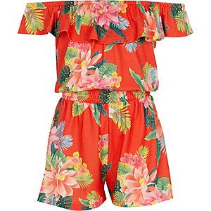 Combi-short Bardot à fleurs orange avec volants pour fille
