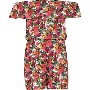 Girls white floral print bardot playsuit