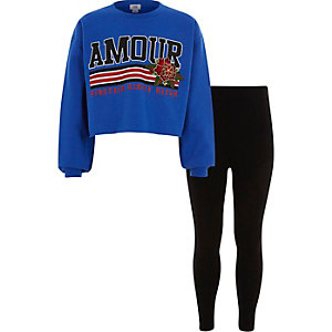 Outfit met blauwe cropped 'Amour' pullover voor meisjes