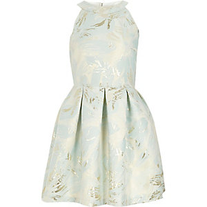 Girls light blue metallic jacquard prom dress