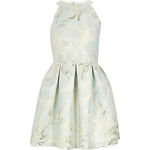 Girls light blue metallic jacquard prom dress