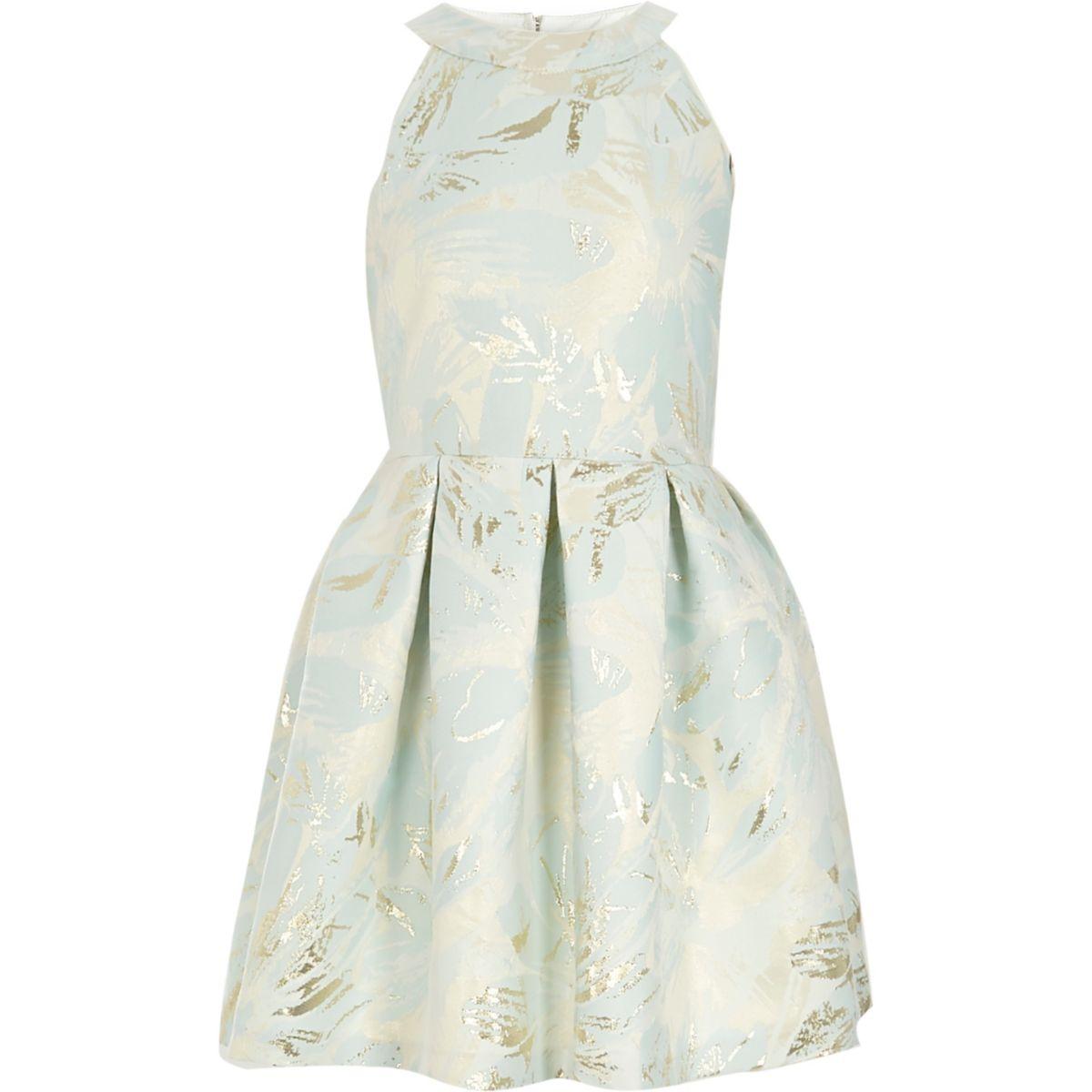 Robe de gala en jacquard bleu clair métallisé pour fille