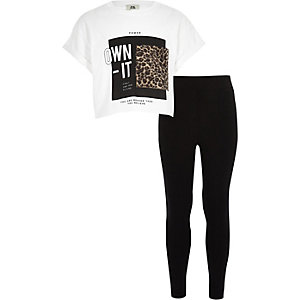 Girls white 'own it' T-shirt outfit