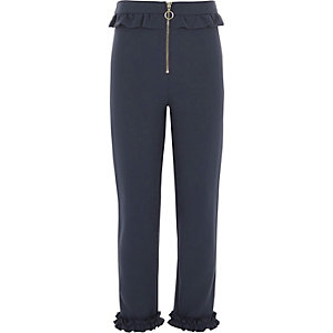 Girls navy frill zip cigarette pants