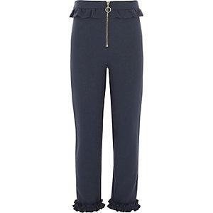Marineblauwe rechte broek met ruches en rits voor meisjes