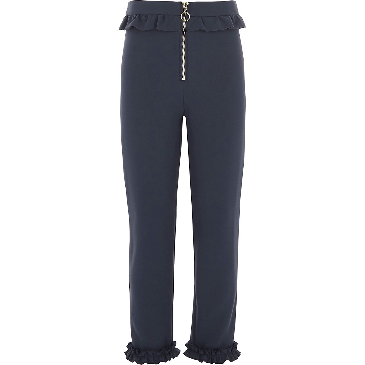 Girls navy frill zip cigarette trousers