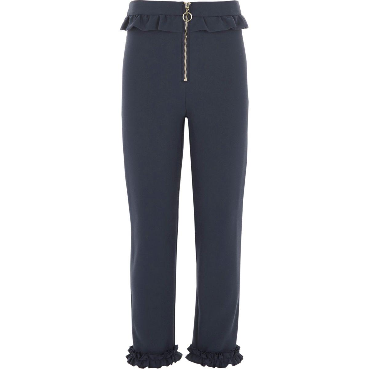 Pantalon cigarette bleu marine zippé à volants pour fille