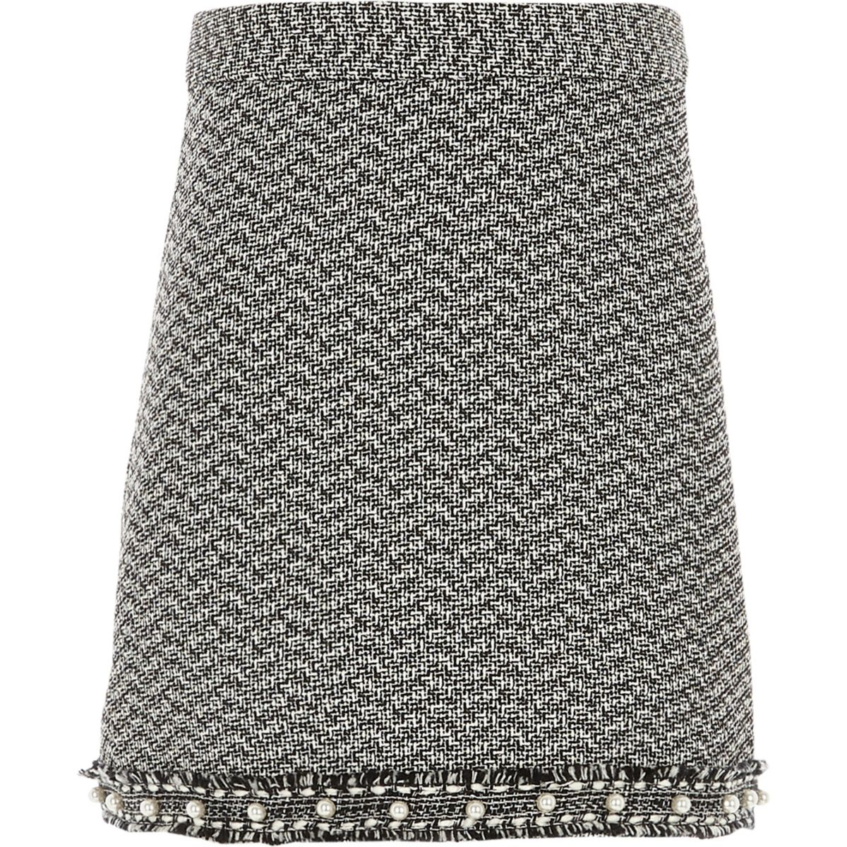 Girls black boucle pearl hem skirt