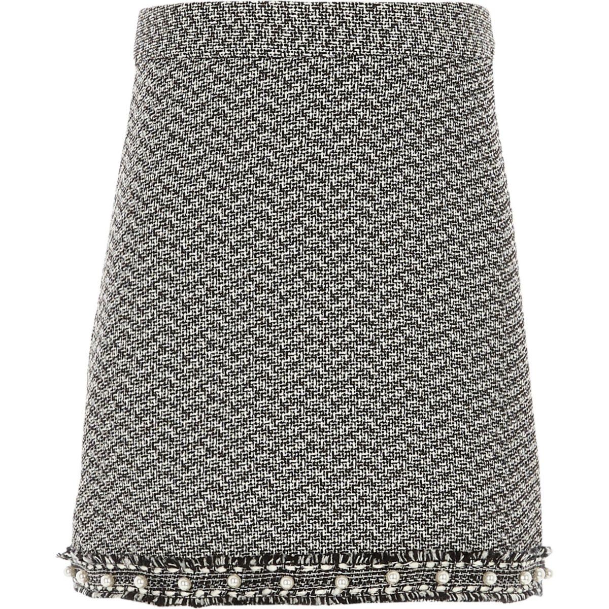 Girls black boucle pearl hem skirt