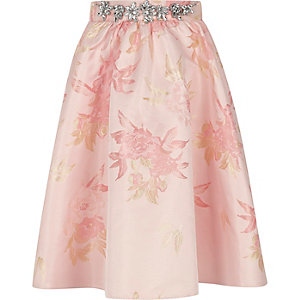 Girls pink jacquard embellished skirt