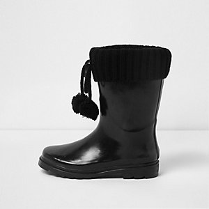 Girls black knit foldover pom pom rubber boots