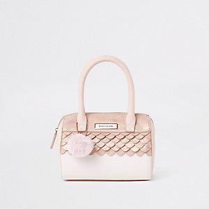 Roze tas van imitatiebont met pompon voor meisjes