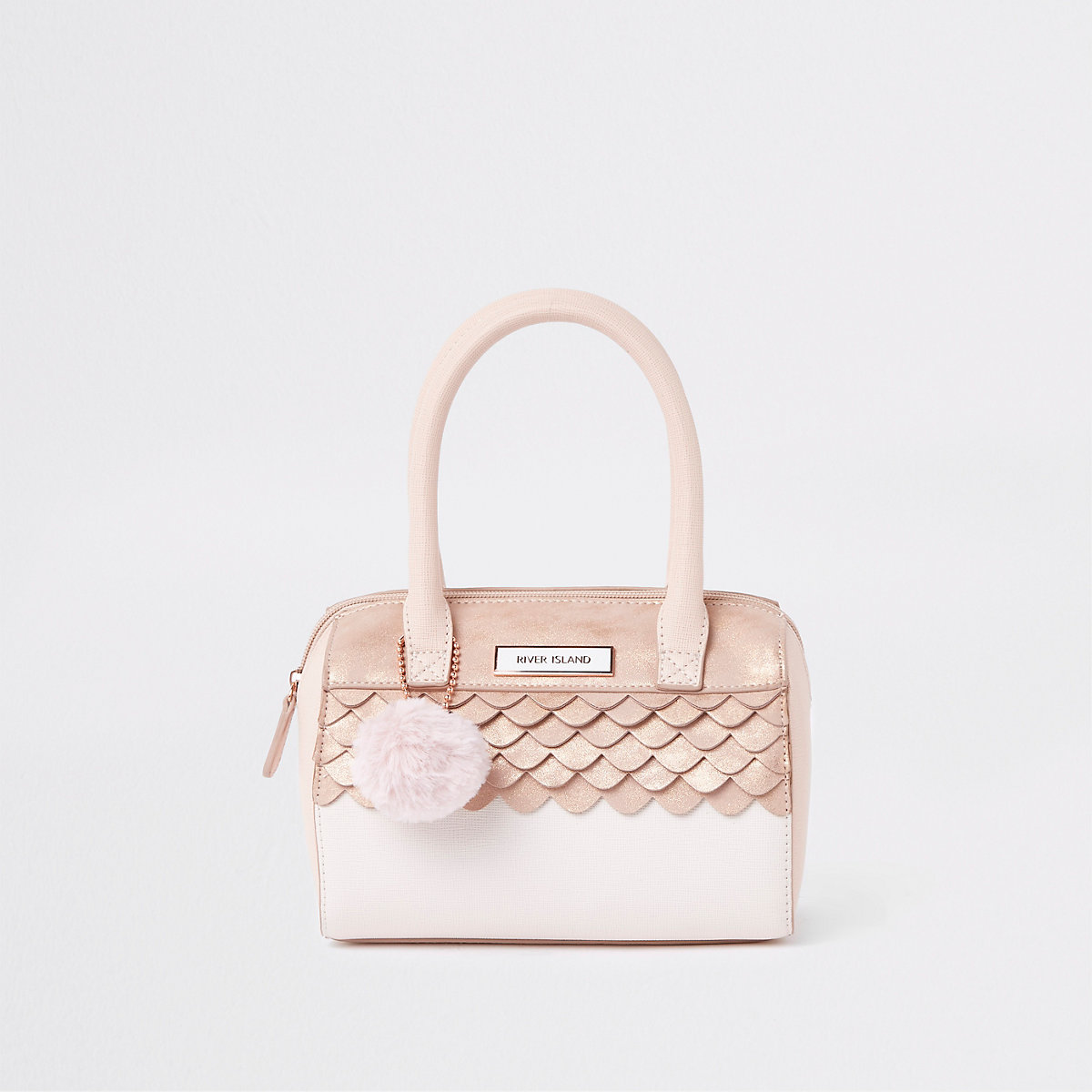 Girls pink faux fur pom pom bowler bag