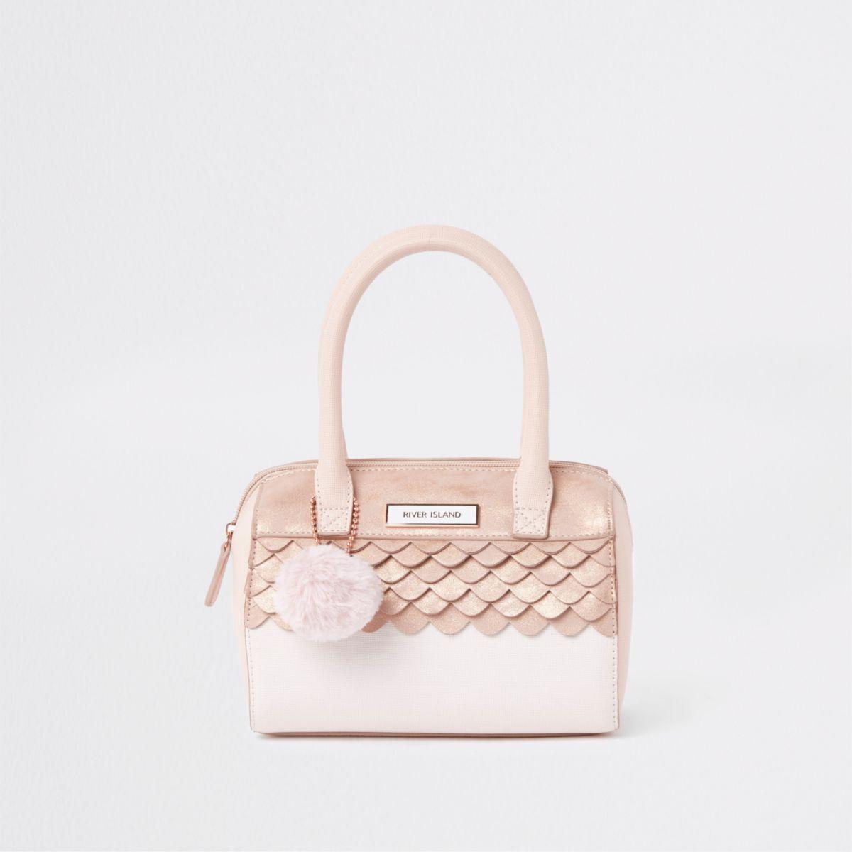 Girls pink scallop detail bowler bag
