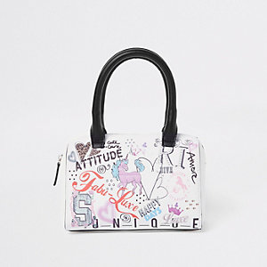 Girls graffiti print bowler bag