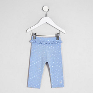 Mini girls blue ruffle waist cropped leggings
