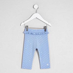 Mini - Blauwe cropped legging met ruches in de taille voor meisjes