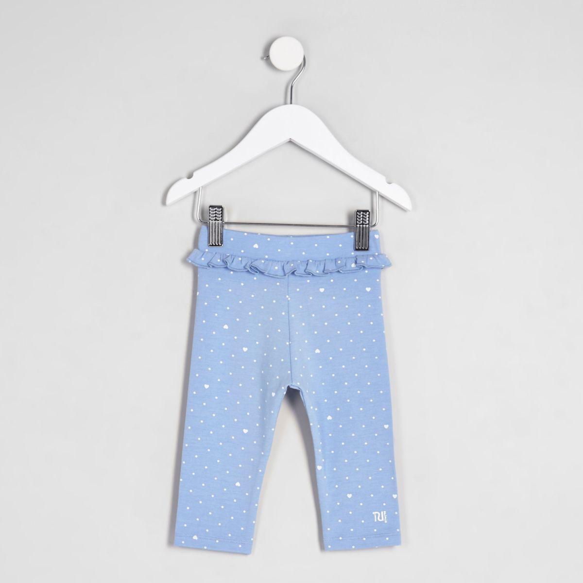 Mini girls blue ruffle waist cropped leggings