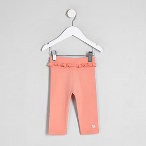 Mini girls pink ruffle waist cropped leggings