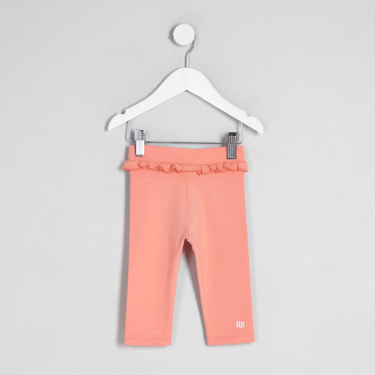 Mini girls pink ruffle waist cropped leggings