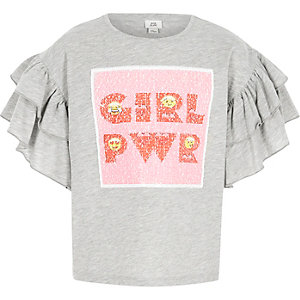 Girls grey marl 'girl power' sequin T-shirt