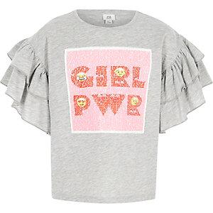 Grijs gemêleerd T-shirt met 'Girl power'-print en lovertjes voor meisjes