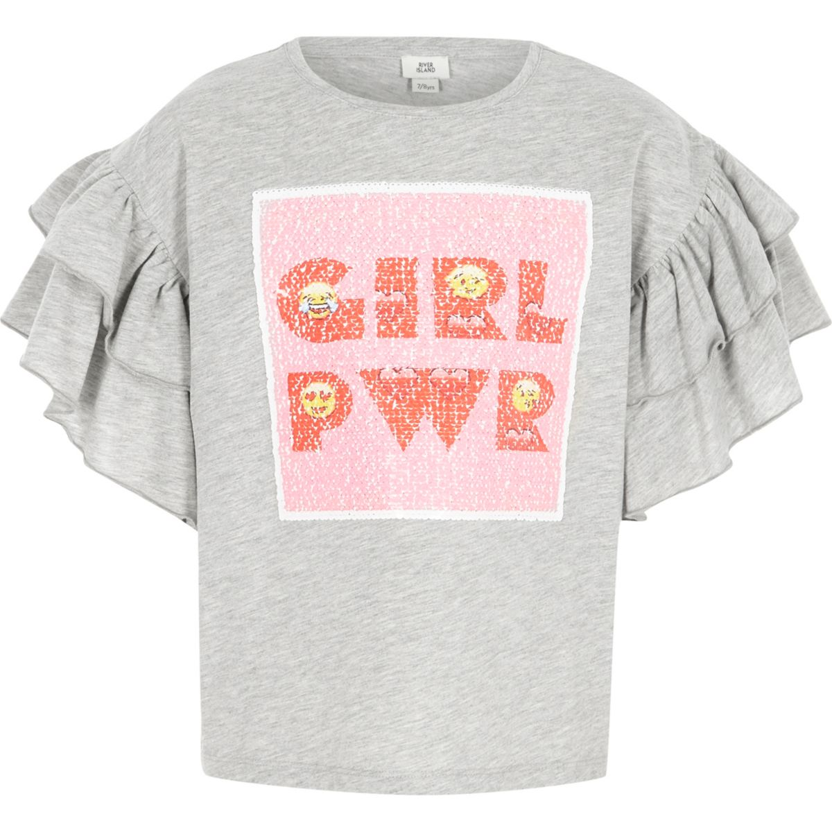 Girls grey marl 39 girl power 39 sequin t shirt t shirts for Girls sequin t shirt