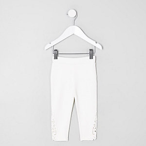 Mini girls white crochet hem leggings