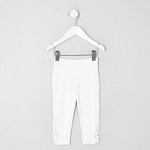 Legging blanc avec ourlet au crochet pour mini fille