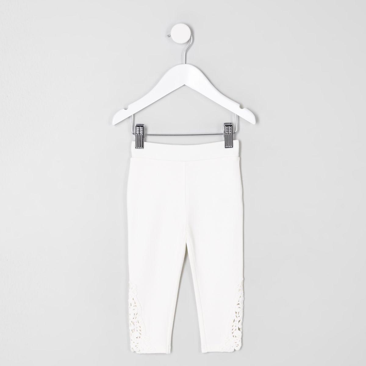 Mini girls white crochet hem leggings