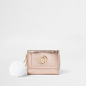 Porte-monnaie or rose métallisé avec RI en monogramme pour fille