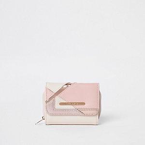 Portefeuille rose métallisé pailleté pour fille