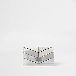 Crème metallic portemonnee met glitterpaneel voor meisjes